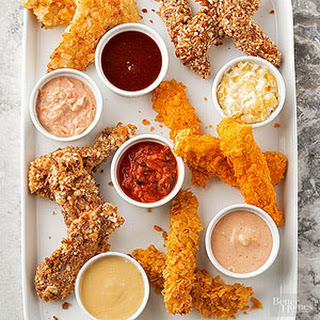 Mix-and-Match Baked Chicken Fingers and Dipping Sauces.