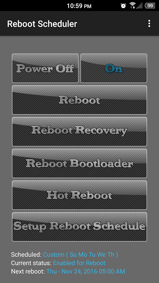 Reboot Scheduler- screenshot