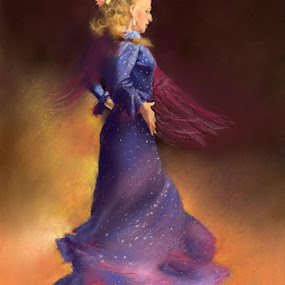 Ana Alonso by Margaret Merry - Painting All Painting ( dancing, pastel, spanish, bailaora, art, drawing, spain, flamenco, andalucia, margaret merry, prints, dance, painting, almeria, dancer )