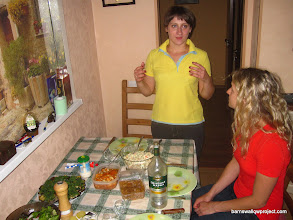 Photo: Yelena explains about Russian traditional foods she has prepared