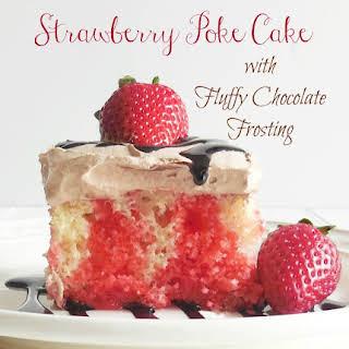 Strawberry Poke Cake with Fluffy Chocolate Frosting.