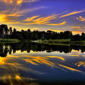 Delicate Flames by DE Grabenstein - Landscapes Sunsets & Sunrises ( landcape, pioneers park, sunset, orange clouds, nebraska, pond,  )