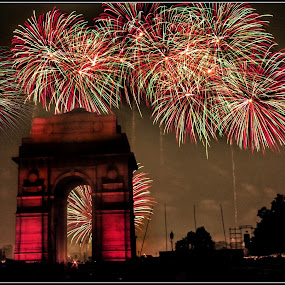 India gate by Debasis Banerjee - City,  Street & Park  City Parks ( diwali, fire warks, india, india gate, delhi )