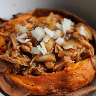 Stuffed Sweet Potatoes With Barbecue Chicken.