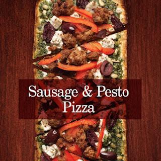 Sausage & Pesto Pizza.