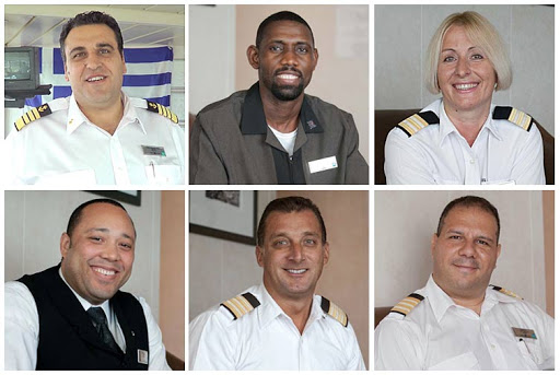 Six crew members of Celebrity Infinity, clockwise from top left: the ship's captain, room attendant, head of housekeeping, hotel director, food & beverage director and waiter.