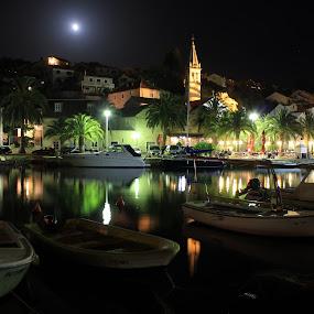 Splitska, island Brac, Croatia by Davor Kapetan - City,  Street & Park  Street Scenes ( night, lights )