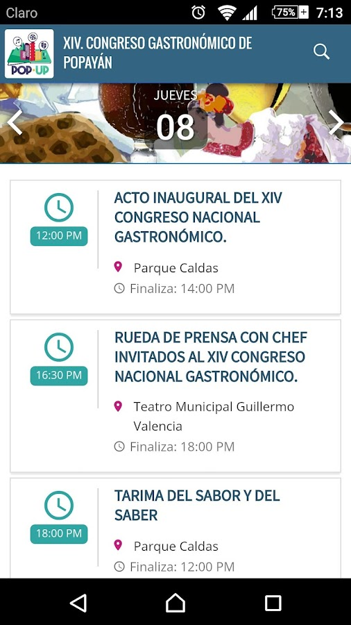 Popup Eventos- screenshot