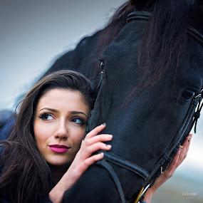 Beautiful portrait  by Stoyan Katinov - People Portraits of Women ( glamour, pazardzhik, model, horses, woman, beautiful, horse, bulagaria, beauty, katinov, people, portrait, eyes, animal )