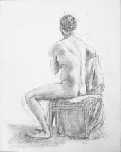 """Photo: Seated Man, 2012, 16"""" x 20"""", 40.6cm x 50.8cm, graphite on stretched canvas. What was done at TSA (see album note)."""