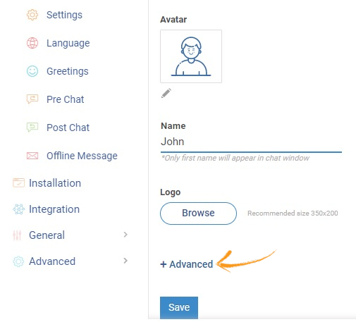 Advanced option to access the advanced customization settings for the visitor chat window.