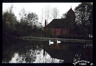 Photo: Village church and village pond into swan Borgfeld (color slide photograph from 1960)
