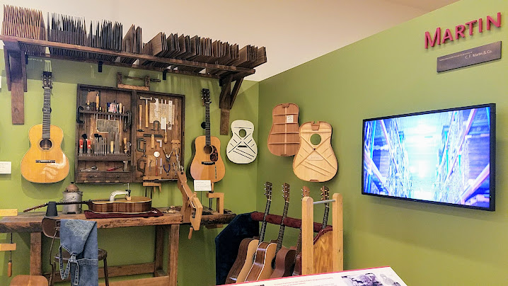 Music Instrument Museum (MIM) Geographic galleries, Martin Guitars, details behind the instruments were also included among the exhibits, with very informative longer videos with instrument makers explaining what is inside and where the parts all come from, and how they are assembled.