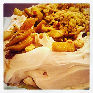 Apple & Hazelnut Crumble and Custard Pavlova
