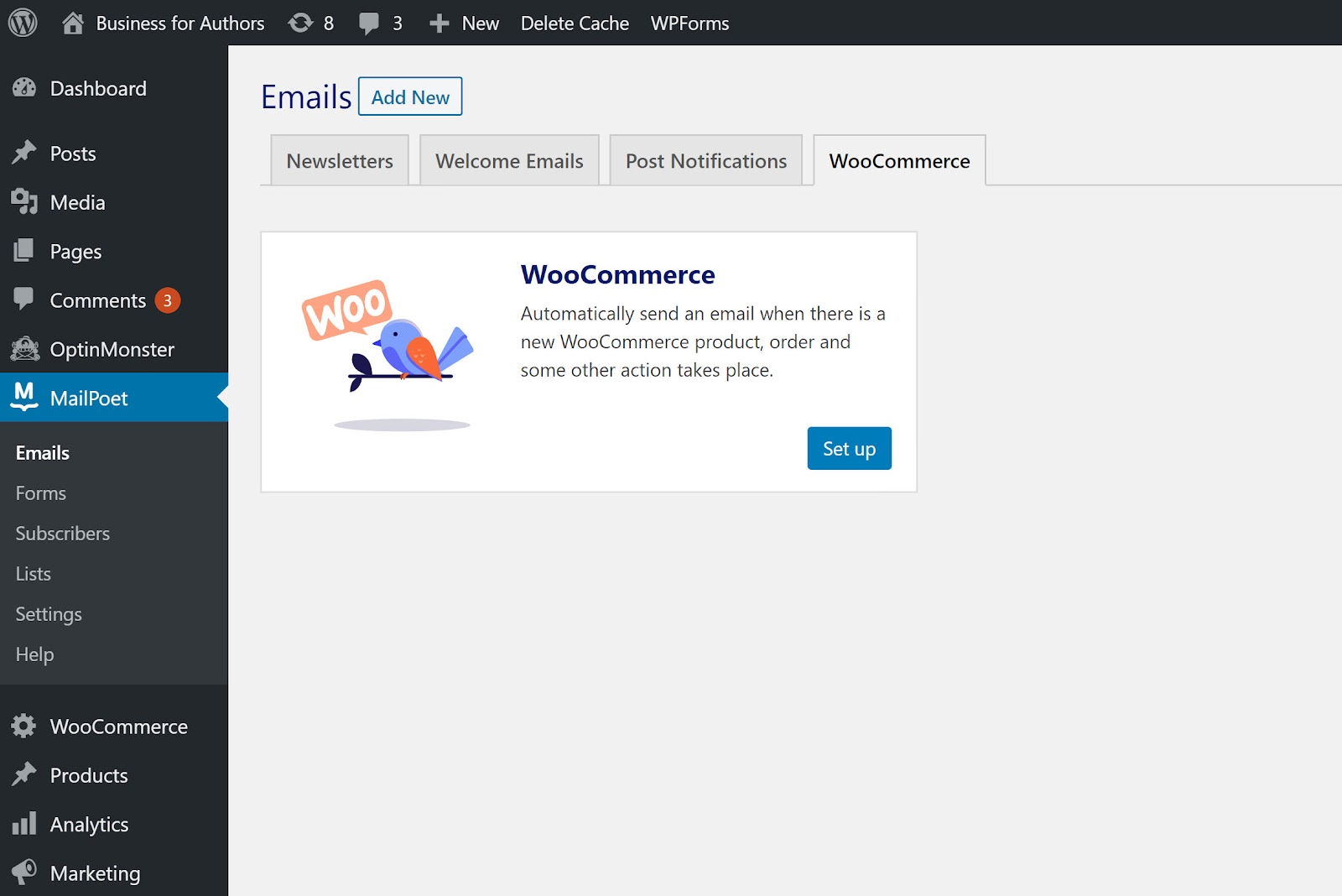 Screenshot of MailPoet's WooCommerce integration