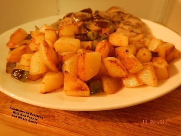 Pan-browned Potatoes W/ Red Pepper & Whole Garlic Recipe
