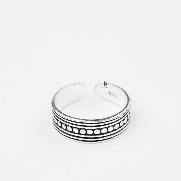 nhẫn bạc cao cấp 925 hoa văn tròn