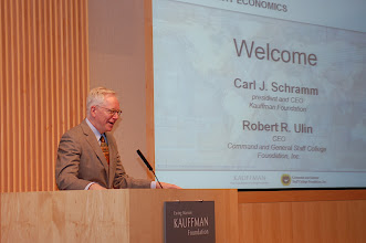Photo: Carl Schramm, president and CEO of the Kauffman Foundation, delivers opening remarks at the Summit on Expeditionary Economics, May 25, 2010, at the Kauffman Conference Center.
