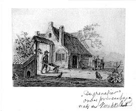 Photo: 1867 tekening Boerderij 'De Grenadier' stond op Emeren, een paar 100 meter na de spoorwegovergang..