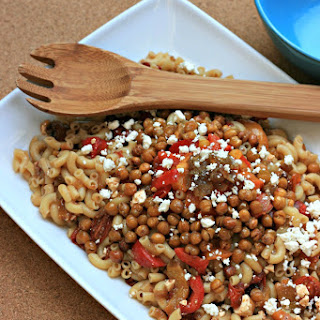 Caramelized + Oven Roasted Mediterranean Pasta Salad Recipe with Chickpea Croutons.