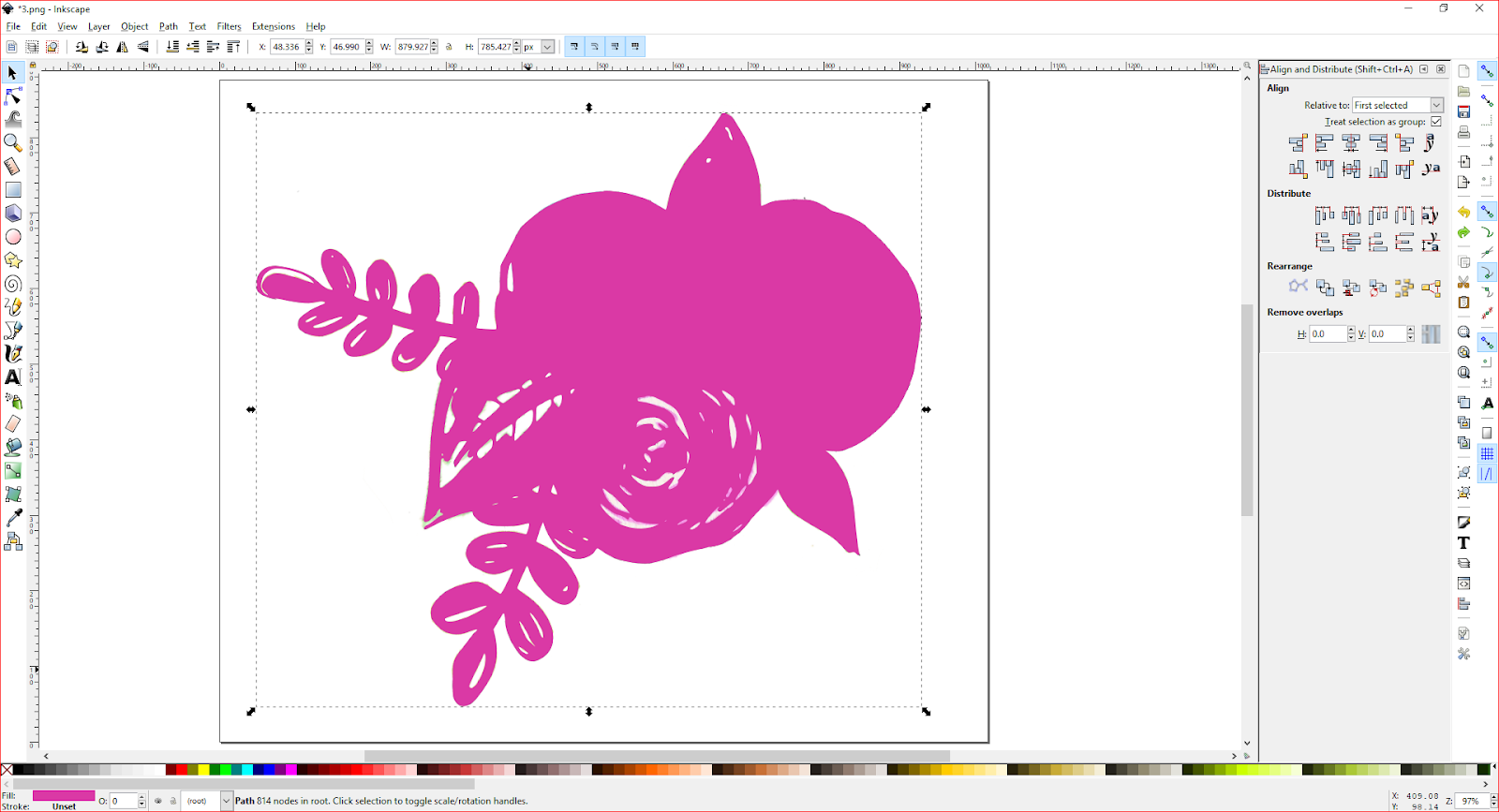 A screenshot of flowers ink inkscape.