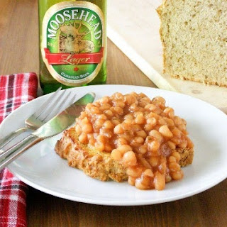 Drunk Canadian Maple Baked Beans on Toasted Herbed Beer Bread