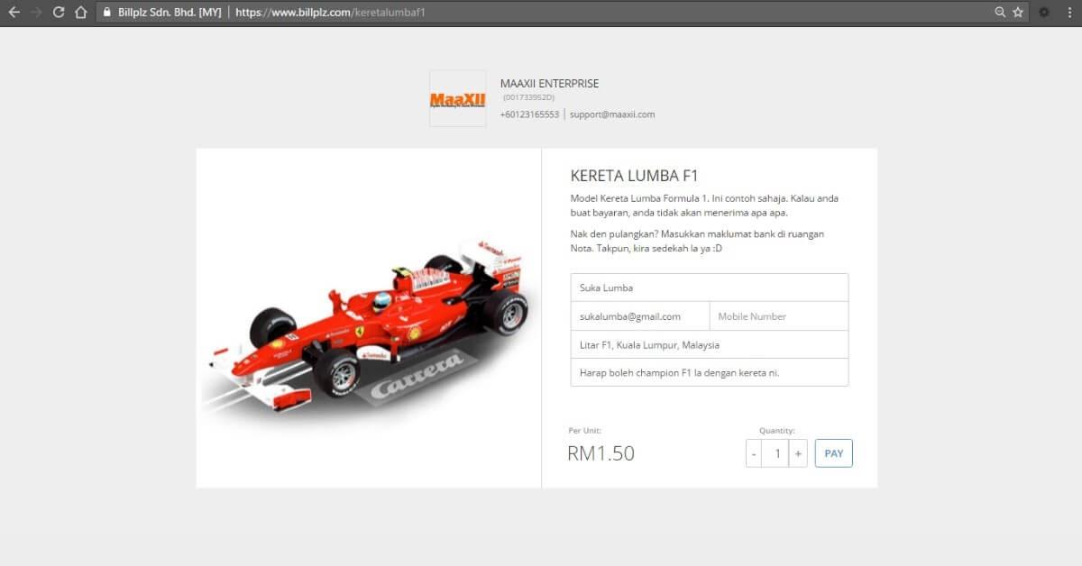 BillPlz Payment Form Kereta Lumba F1