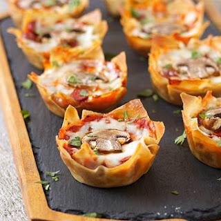 Pepperoni Mushroom Pizza Wonton Cups