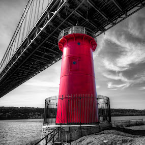 by Chad Weisser - Buildings & Architecture Architectural Detail ( george washington bridge, lighthouse, nyc, bridge, ny,  )