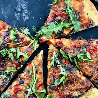 Roasted Red Pepper, Bacon, and Arugula Pizza with Balsamic Glaze