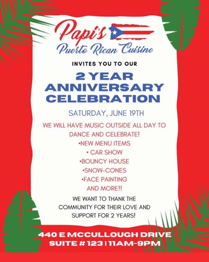 Papi's Puerto Rican Cuisine's 2 year anniversary celebration: music, car show, bounce house, more