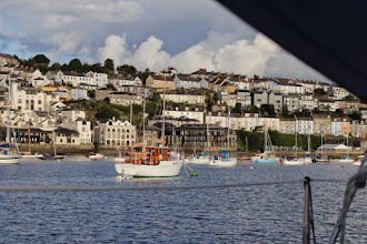 Photo: Falmouth from our mooring as the weather improved.