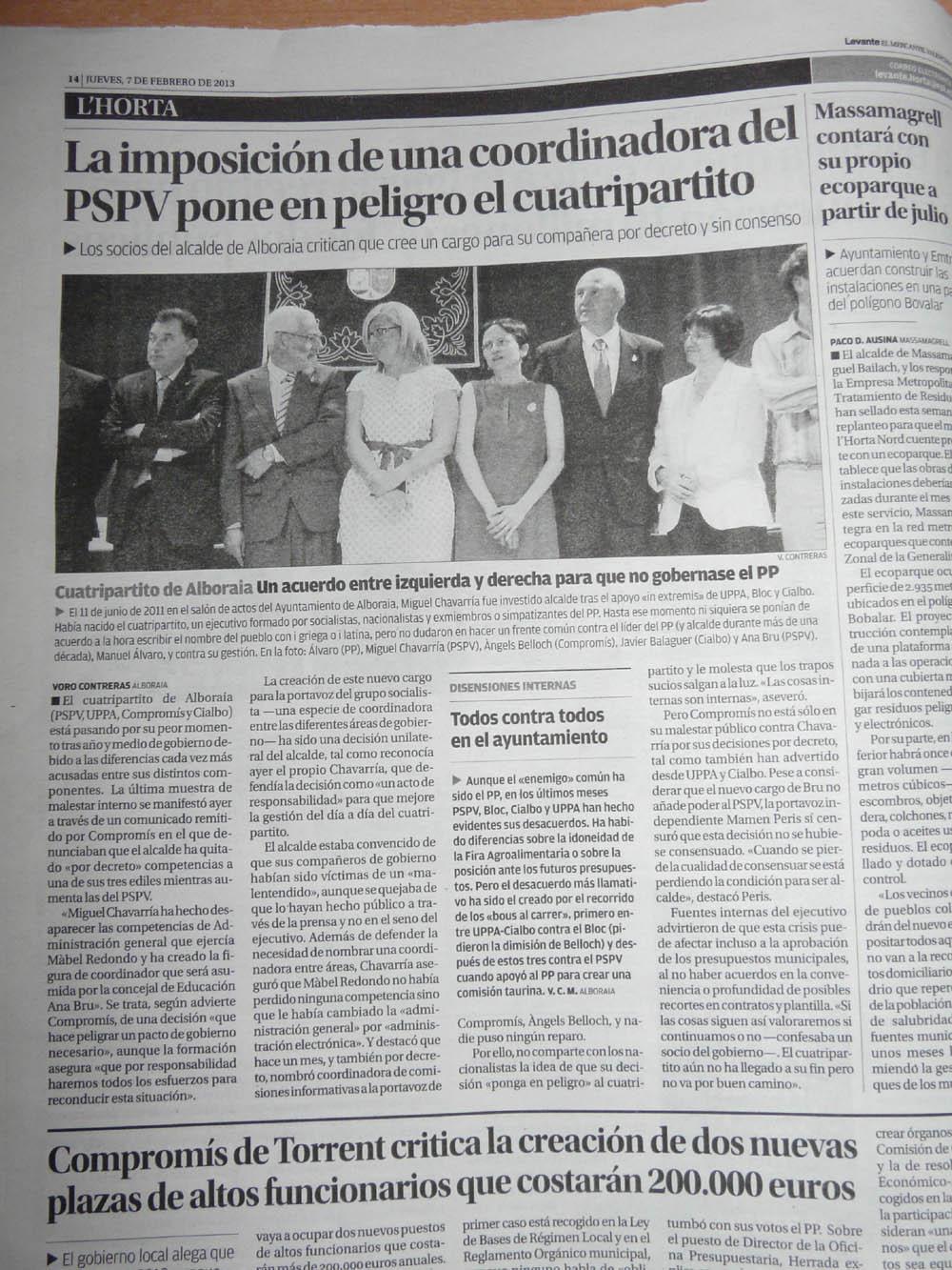 """Photo: Levante-EMV: """"La imposición de una coordinadora del PSPV pone en peligro el cuatripartito"""""""