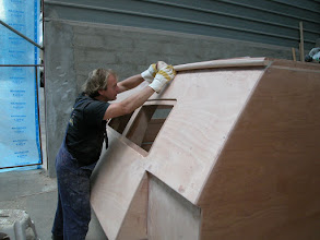 """Photo: """"Shaping"""" the upper end of deckpod"""