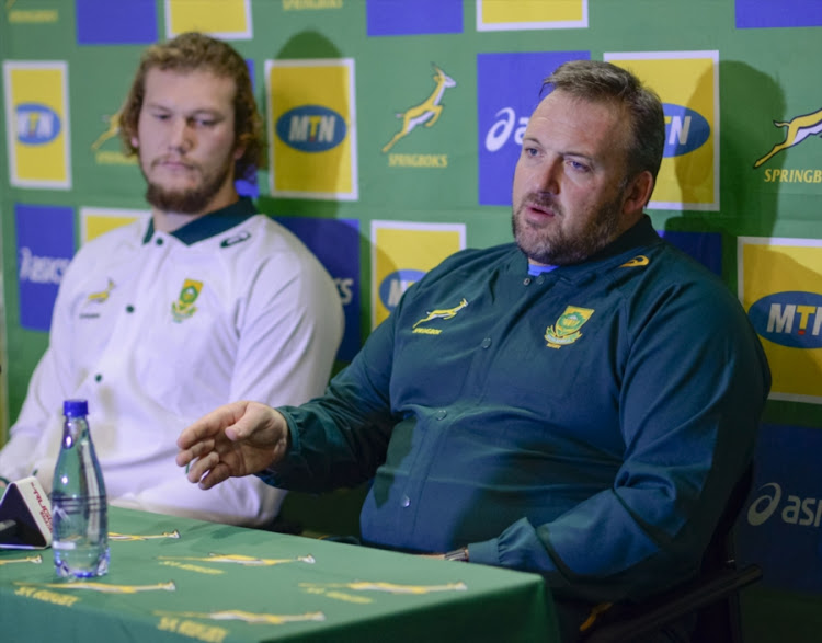 Matthew Proudfoot and RG Snyman during the South African national mens rugby team media briefing at Tsogo Sun on June 12, 2018 in Bloemfontein, South Africa.