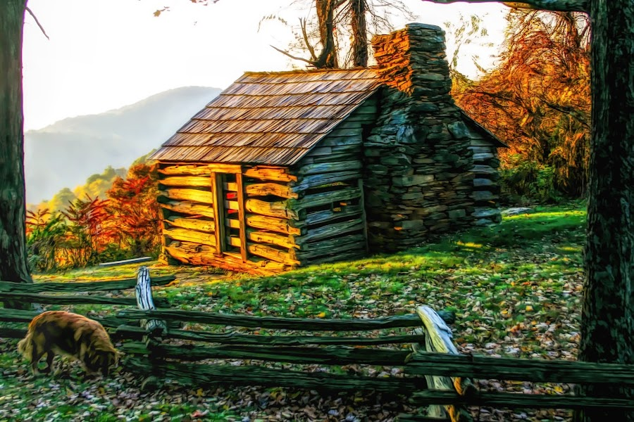SmokyMountain Log Cabin by Dave Walters - Digital Art Places ( log cabin, blue ridge parkway, digital rebel, smoky mountains national park, abstract )