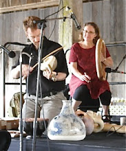 Photo: Barry and Beth Hall play ceramic instruments - fiddle and bodhran - at The Bascom in Highlands, NC