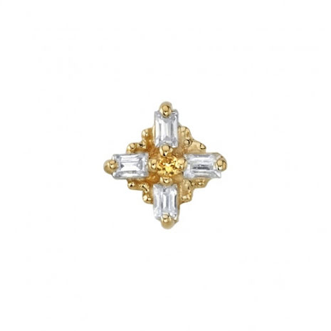 PIN with Gaia - 5mm - 4 1.5x1mm Straight Baguettes with 1mm Prong Center