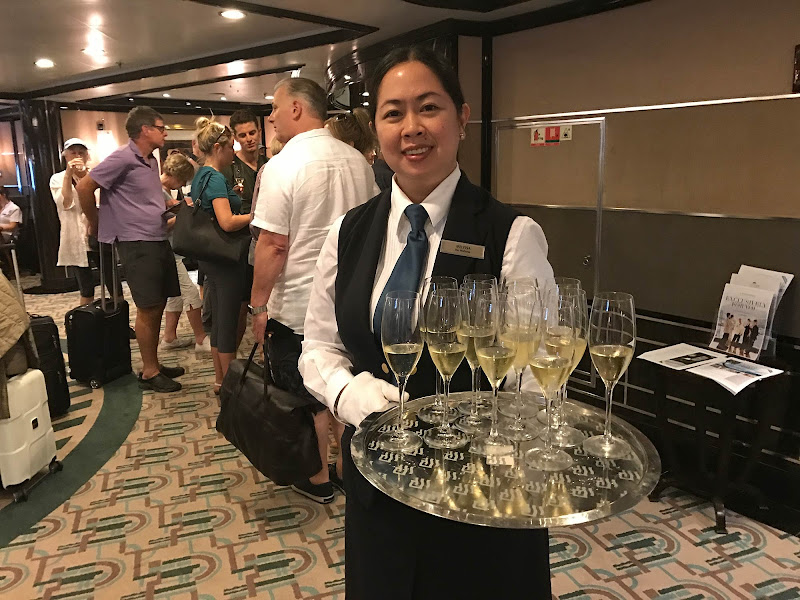 A champagne greeting awaits guests on Silversea ships.