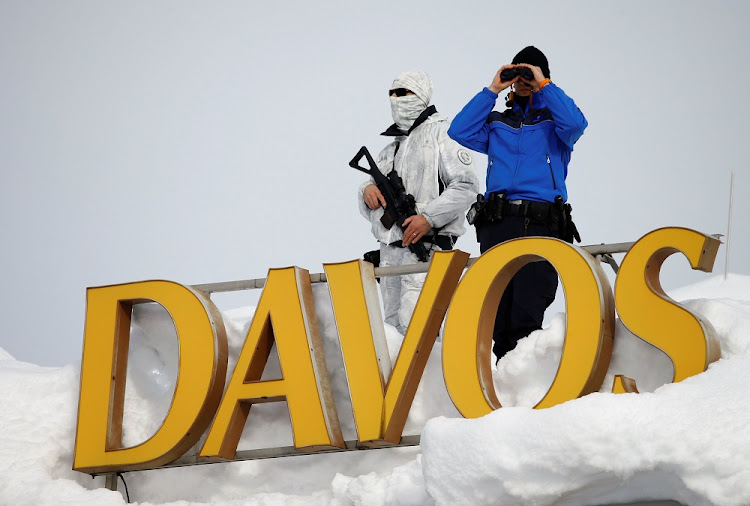 Swiss police guard the Davos Congress Hotel during the World Economic Forum 2018 annual meeting in Davos, Switzerland, on January 25 2018. Picture: REUTERS