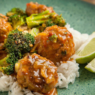 Coconut Curry Turkey Meatballs with Broccoli