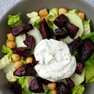 Roasted Beetroot Salad with Watercress Yogurt Dip