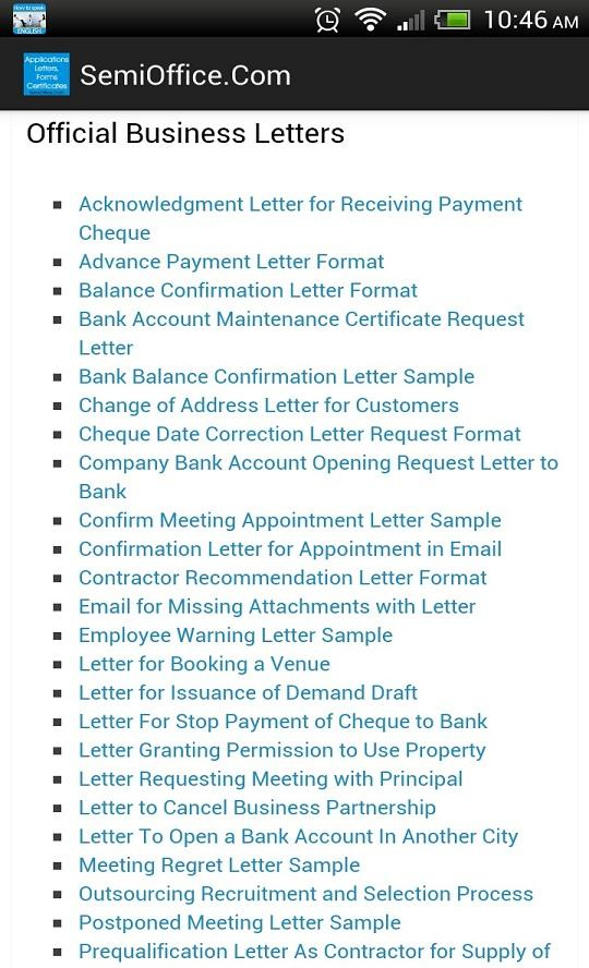 Sample Letters Applications Android Apps on