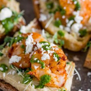 Cajun Shrimp Hummus Crostini.