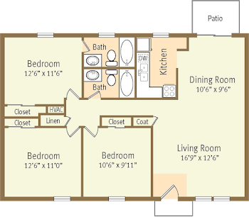 Go to Three Bed, Two Bath Patio Floorplan page.