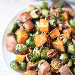 Roasted Sweet Potatoes and Brussels Sprouts with Pecans.