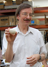 Photo: Gary Guenther shows off his bleached red-oak egg.