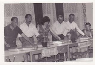 Photo: Szoboszlai Vince, Szabó János-Öcsi, Nagy Károly, Sztahó Lajos?, ifjú Szabó Jancsi csicsói kultúrház előcsarnoka