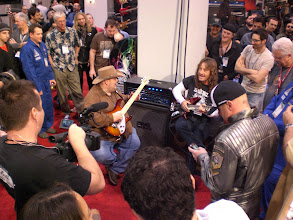 Photo: Johnny Hiland jamming with Dave Larue