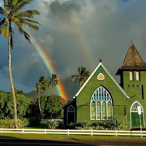The End of the Rainbow by James Bokovoy - Buildings & Architecture Places of Worship ( kauai, church, hanalei, palm trees, rainbow, hawaii )